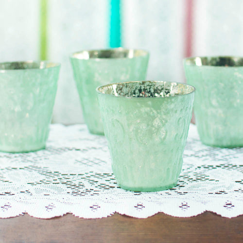 Mercury Glass Votive Candle Holder, 3.25 in. tall, Mint Green, 12 pk