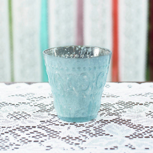 Mercury Glass Votive Candle Holder, 3.25 in. tall, Light Blue