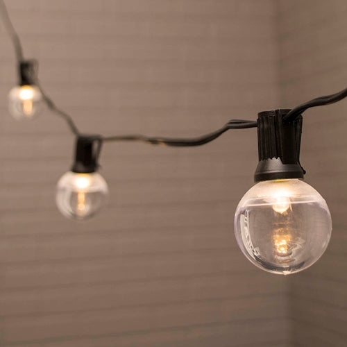 Globe String Lights, 1.5 in. LEDs, 25 ft. Black Wire, C7, Warm White