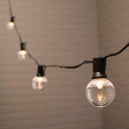Globe String Lights, 1.5 in. LEDs, 50 ft. Black Wire, C7, Warm White