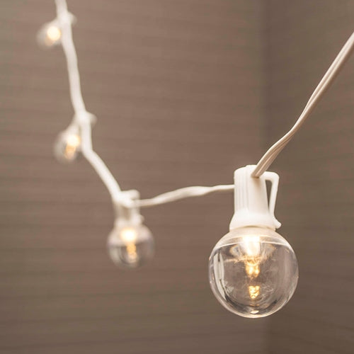 Globe String Lights, 1.5 in. LEDs, 50 ft. White Wire, C7, Warm White