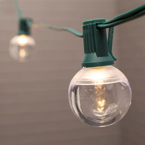 Globe String Lights, 1.5 in. LEDs, 10 ft. Green Wire, C7, Warm White