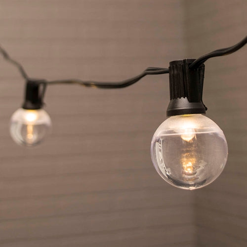 Globe String Lights, 1.5 in. LEDs, 10 ft. Black Wire, C7, Warm White