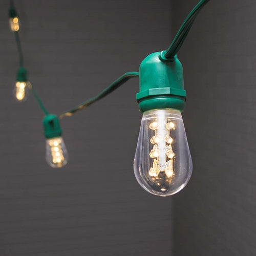 Commercial Globe String Lights, Acrylic Edison LED, 54 ft, Green Wire, Warm White