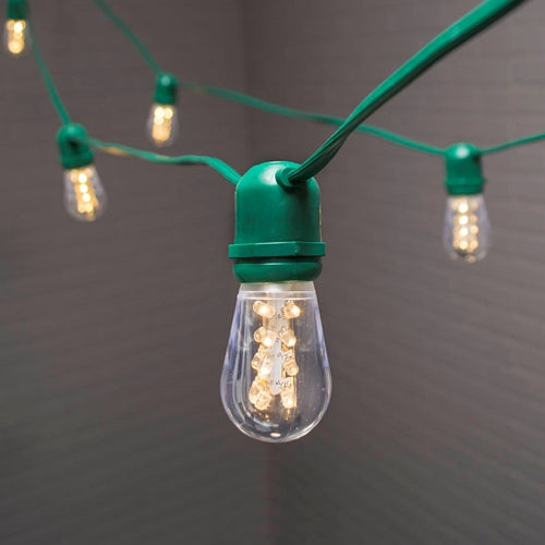 Commercial Globe String Lights, Acrylic Edison LED, 106 ft, Green Wire, Warm White
