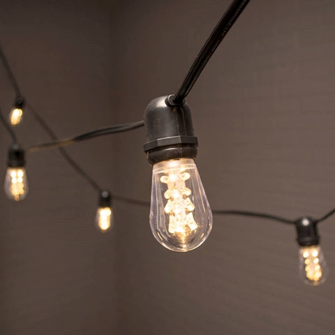 Commercial Drop String Lights, Acrylic Edison LED, 54 ft, Black Wire, Warm White