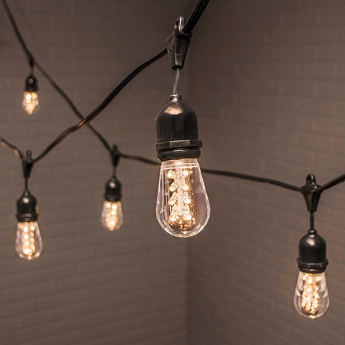 Commercial Drop String Lights, Acrylic Edison LED, 106 ft, Black Wire, Warm White