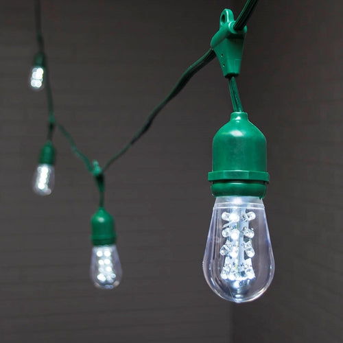 Commercial Drop String Lights, Acrylic Edison LED, 54 ft, Green Wire, Cool White