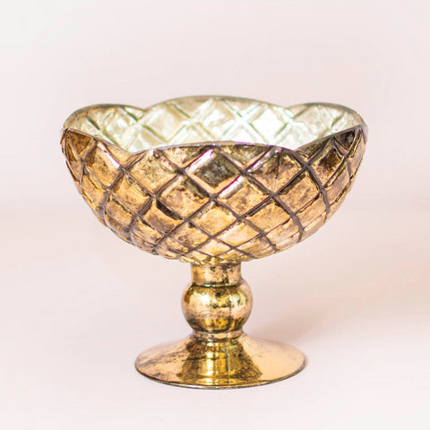 Metal Compote Vase w/ Pedestal Base, 8 in. tall, 9 in. wide,  Gold