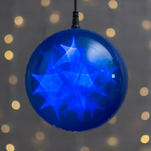 Lighted Sphere, LED Ball, 6 in., Battery, Multifunction, Timer, Blue