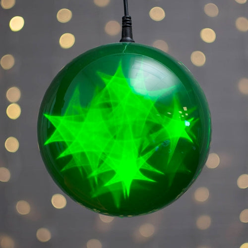 Lighted Sphere, LED Ball, 6 in., Battery, Multifunction, Timer, Green