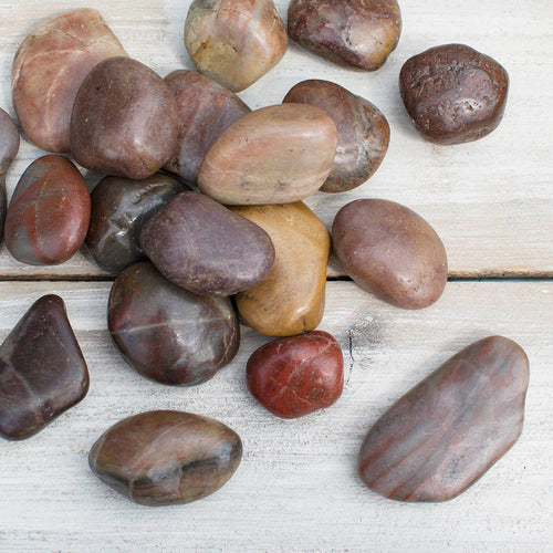 Vase Filler, 2 lbs., Polished River Rocks, Rust Colored
