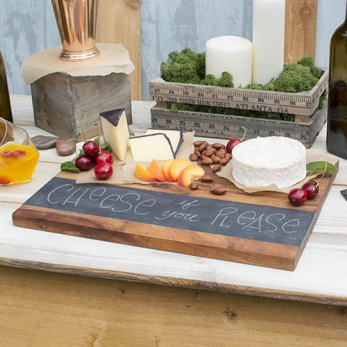 Rectangular Cheese Board, Wood & Slate Board, 15.5 in x 11.25
