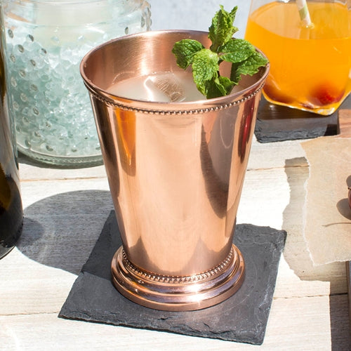 Mint Julep Cup, Beaded Edge, 4.5 in tall, Copper
