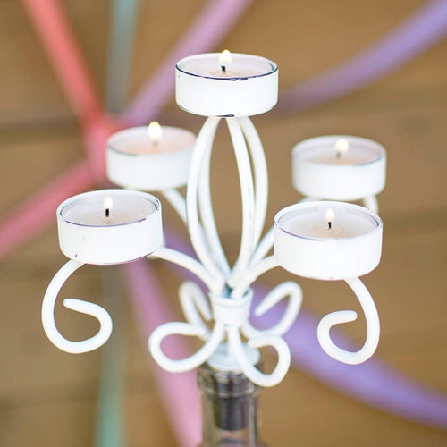 Bottle Candelabra Tea Light Candle Holder, Metal, 6.75 in tall, White