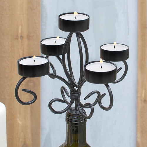 Bottle Candelabra Tea Light Candle Holder, Metal, 6.75 in tall, Black