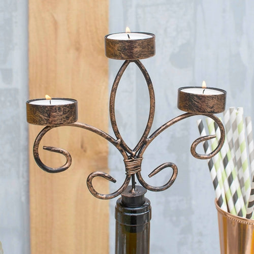 Bottle Candelabra Tea Light Holder, Metal, 6.5 in tall, Rustic Finish