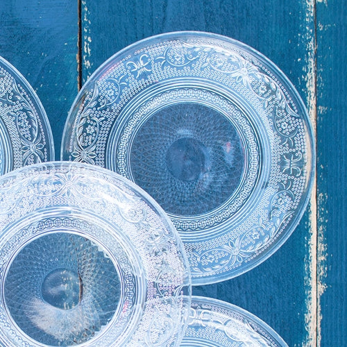Bread Plates, Embossed Glass, Decorative, 6 in, Clear, Set of 12