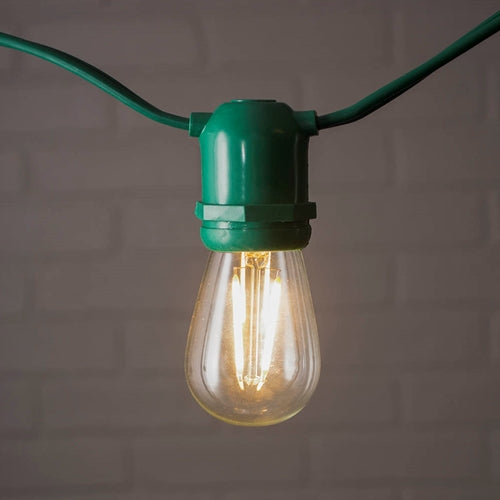 Commercial Edison String Lights, S14 Dimmable LED, 54ft Green Wire, Warm White