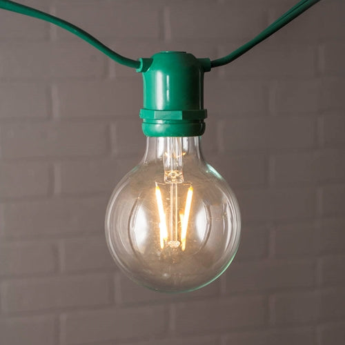 Commercial Globe String Lights, G80 Dimmable LED, 54ft Green Wire, Warm White