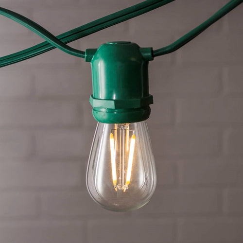 Commercial Edison String Lights, S14 Dimmable LED, 106ft Green Wire, Warm White