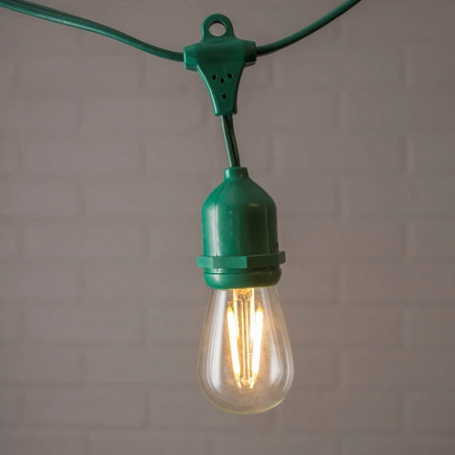 Commercial Edison Drop String Lights, S14 Dimmable LED, 54ft Green Wire, Warm White