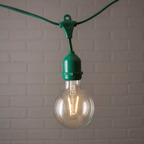 Commercial Globe Drop String Lights, G80 Dimmable LED, 54ft Green Wire, Warm White