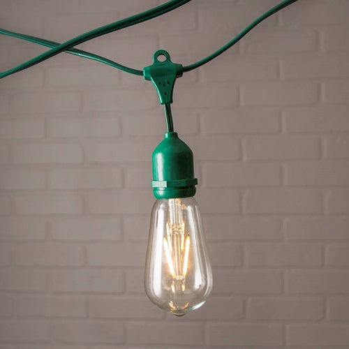 Commercial Edison Drop String Lights, ST58 Dimmable LED, 106ft Green Wire, Warm White