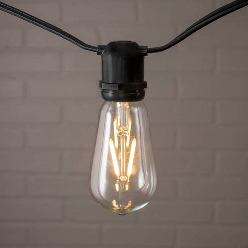 Commercial Edison String Lights, ST58 Dimmable LED, 48ft Black Wire, Warm White