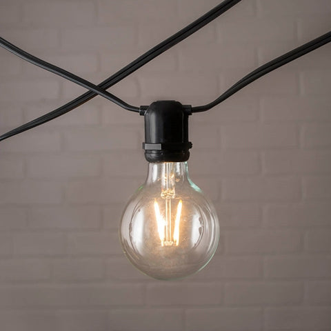 Commercial Globe Drop String Lights, A19 Dimmable LED, 54ft Black Wire, Warm White