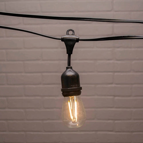 Commercial Edison Drop String Lights, S14 Dimmable LED, 106ft Black Wire, Warm White