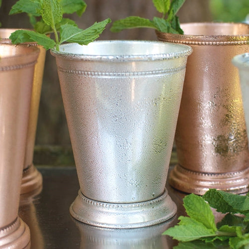 Mint Julep Cup, Beaded Edge, 4.4 in tall, Silver