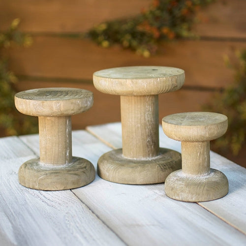 Wooden Spool Pedestal, 4 inch, 5 inch, 6 inch, Rustic Brown, Set of 3