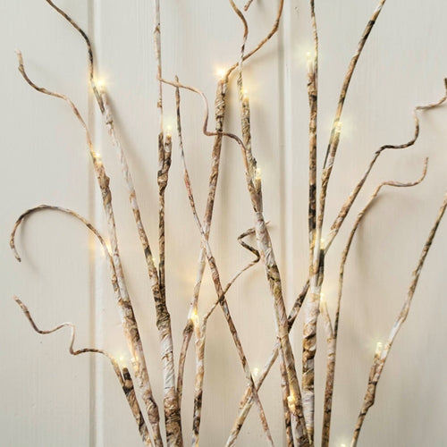 Lighted Gray Birch Branches, Battery Operated LEDs, 39 in, Warm White