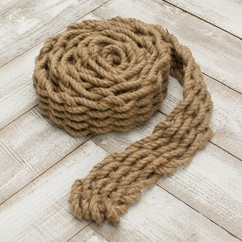 Burlap Ribbon, Wired with Pearl Trim, 2.5 inches x 10 yards, Natural