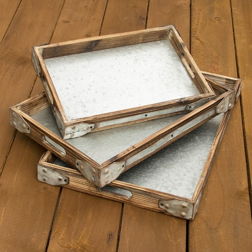 Serving Trays, Rectangle Wood & Metal, 15.25 to 21.25 in., Set of 3