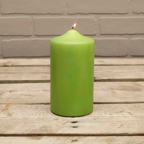 Pillar Candle, 3x6in, Patrician, Round, Unscented Wax, Lime Green