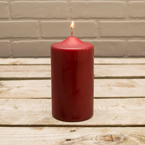 Pillar Candle, 3x6in, Patrician, Round, Unscented Wax, Pomegranate Red