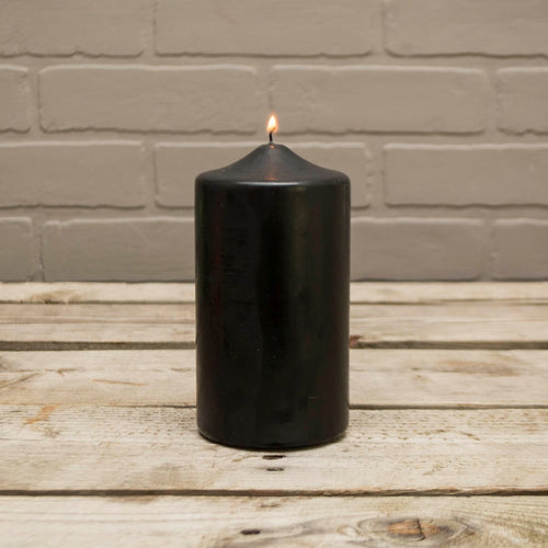 Pillar Candle, 3x6in, Patrician, Round, Unscented Wax, Black
