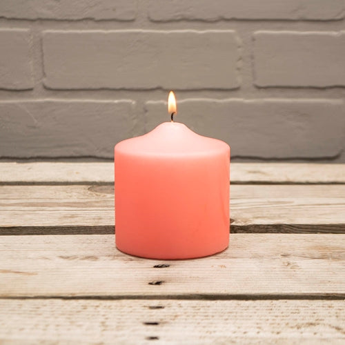Pillar Candle, 3x3in, Patrician, Round, Unscented Wax, Coral Pink