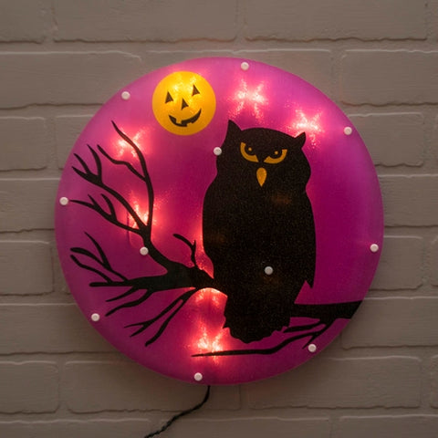 Window Decoration, Halloween Cat, Purple & Green LEDs, 14.5 in, Black