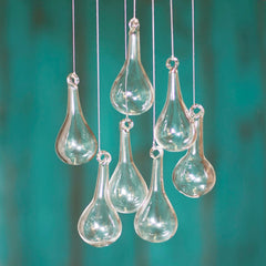 Glass Raindrop Ornaments, 2.5 in. long x 1 in. wide, 32 pieces