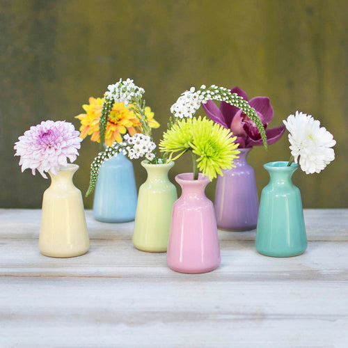 Ceramic Bud Vases, 3.5 in. tall, 2 in. wide, Set of 6, Assorted Pastel