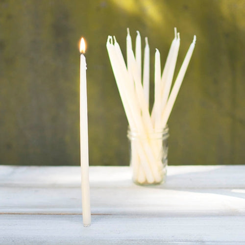 Tiny Taper Candles, Patrician, Real Wax, 10 inches, Ivory, 12 Pack