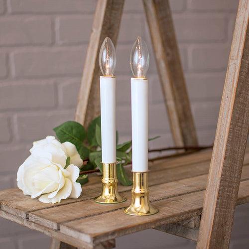 Welcome Candle Lamp with Brass Base, Battery Operated, 9 inches, 2 Pack