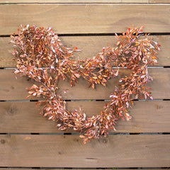 Lovage Leaf Garland With Berries, Realistic Decorative, 6 ft, Copper