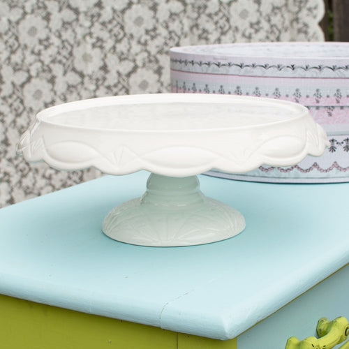 Cake Stand, Large Embossed Pedestal, 11.5in Round, Porcelain, White