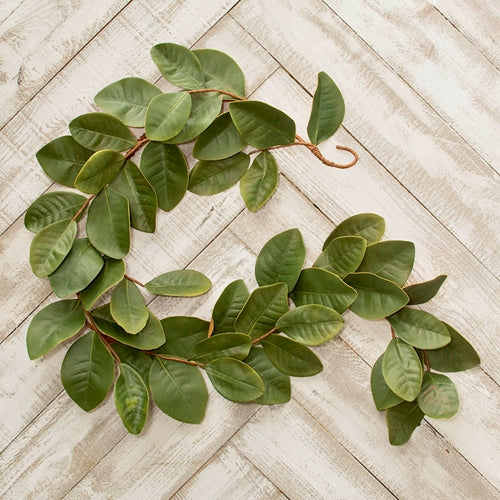 Magnolia Leaf Garlands, Artificial Swags, Realistic, 6 ft, Green, 2 Pk