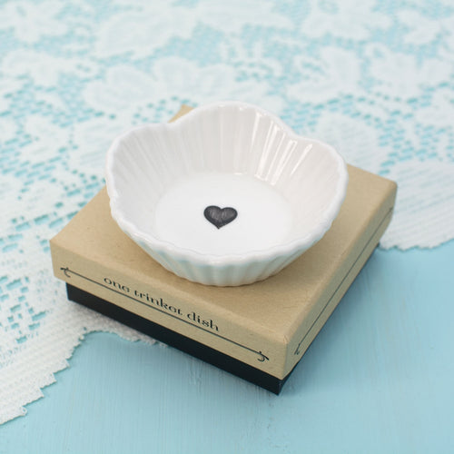 Trinket Dish, Heart, Mini Porcelain Favor, 3 inch Round, White