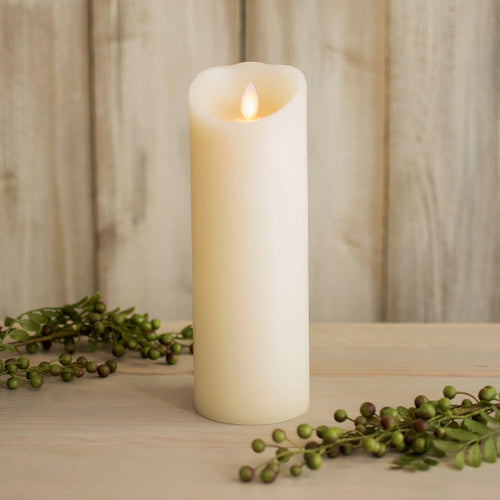 Luminara Wax Pillar Candle, Battery Operated, Moving Flame, 8in, Ivory
